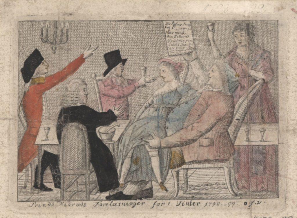 """Prinds Kiøruds Forelæsninger for i Vinter 1798-1799. Koloreret kobberstik af """"Prins Kjørud"""" under en af sine forelæsninger for gæsterne på sit bordel. Kobberstikket blev baggrund for en politiundersøgelse. Af Fahrenholtz, Georg, (1758-1816) kobberstikker. 1798. (CC BY-NC-ND 3.0)."""