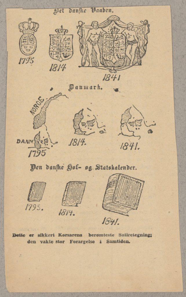 Satiretegning fra Corsaren antageligt fra 1841, i forbindelse med territorie afståelsen af Norge og Slesvig-Holsten: Det Danske Våben, Danmark og Den Danske Hof- og Statskalender. (CC BY-NC-ND 3.0).