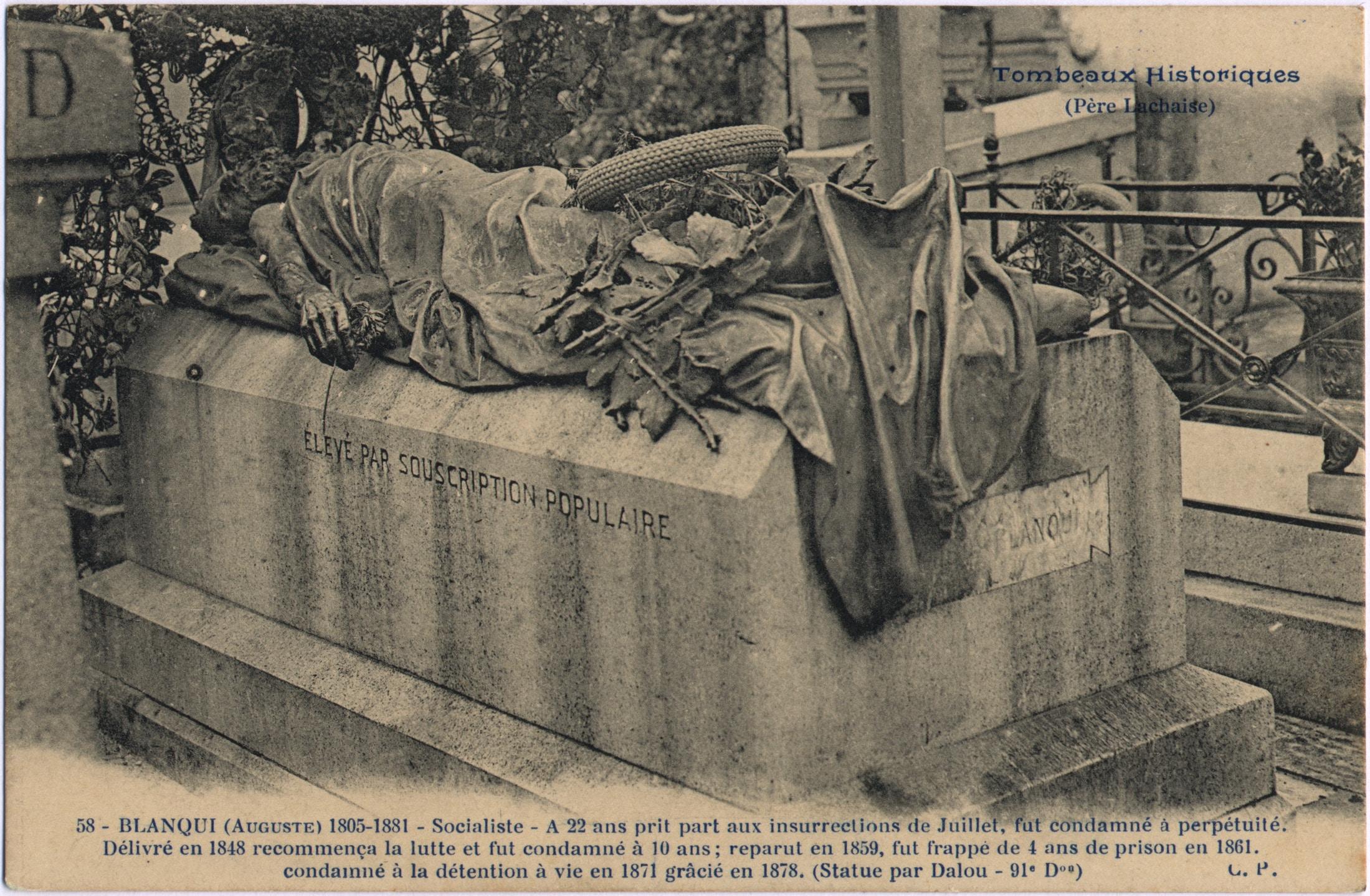 Auguste Blanqui's grave (1805-1881) by Jules Dalou (1838–1902), sculptor, at the Père Lachaise cemetery in Paris (1885). From a postcard circa 1900. Photo: Unknown. Public Domain.