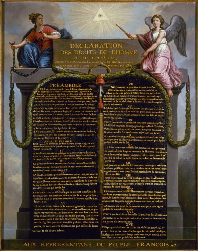 """Déclaration des droits de l'homme et du citoyen. Representation of the Declaration of the Rights of Man and of the Citizen in 1789 Includes """"Eye of providence"""" symbol (eye in triangle). Oil on panel painted by Jean-Jacques-François Le Barbier (1738–1826), French painter, illustrator and engraver. Collection: Musée Carnavalet. Public Domain."""
