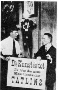 """Art is dead…,"" Grosz and Heartfield at the Dada fair in Berlin, 1920. Photo: Unknown. Public Domain."