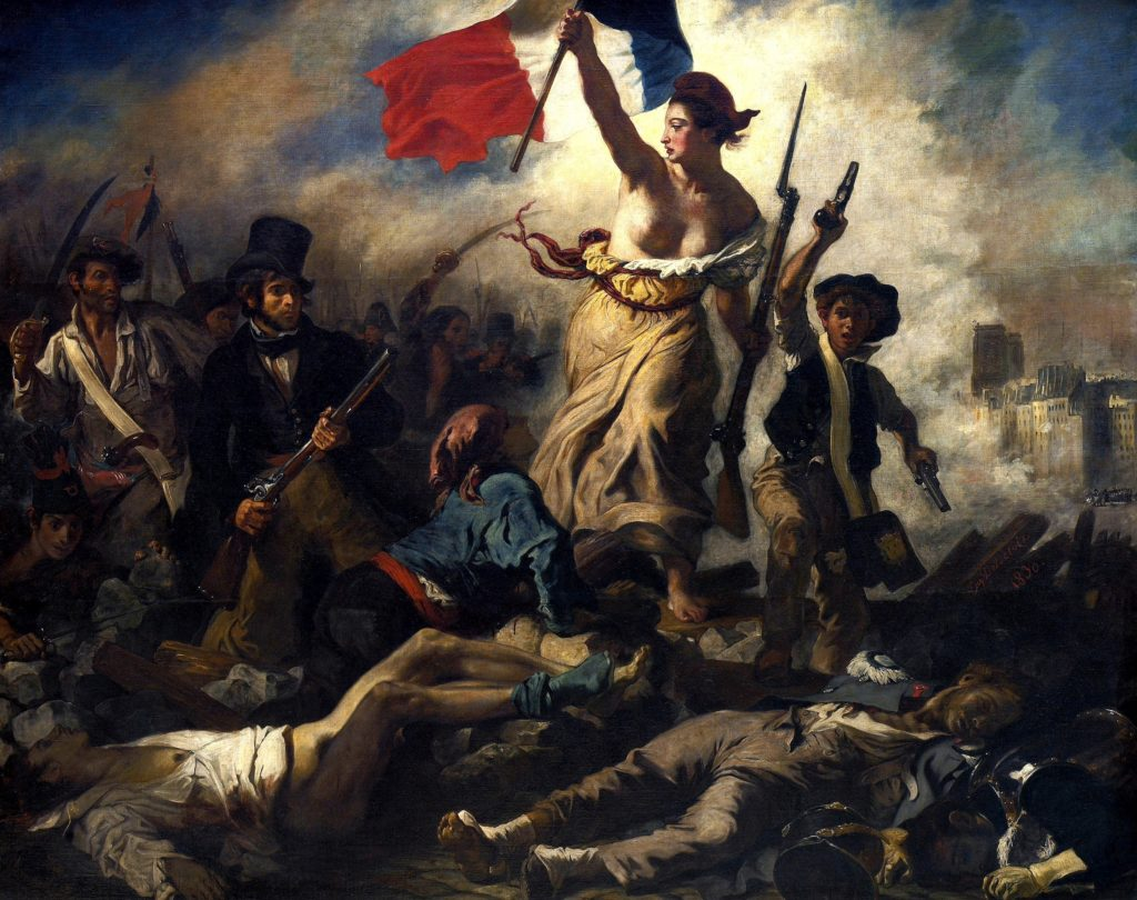 Liberty Leading the People. Oil on canvas painted by Eugène Delacroix (1798–1863), French painter, draughtsman, aquarellist and photographer. The painting commemorates the French Revolution of 1830 (July Revolution) on 28 July 1830. 1831: acquired by Luxembourg Museum, Paris from Eugène Delacroix. 1874: transferred to Musée du Louvre, Paris. Public Domain.