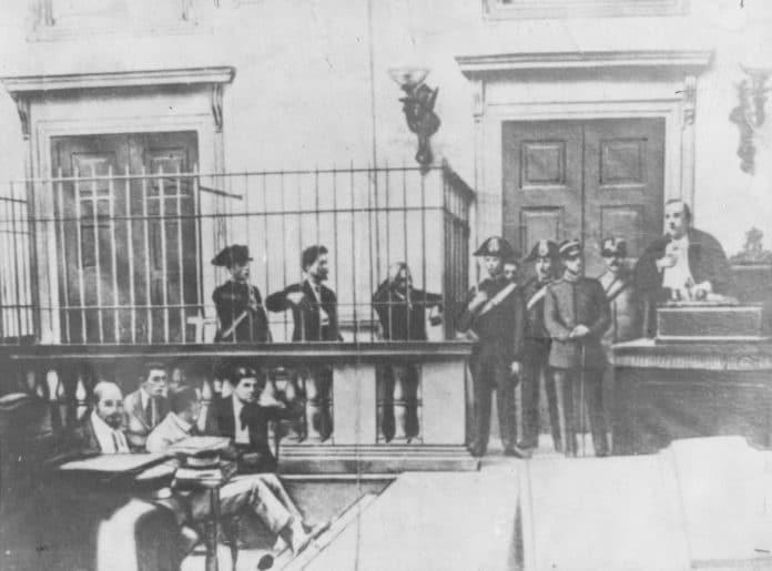 Trial of Errico Malatesta and Armando Borghi. Milan, July 1921. Photo: Unknown. Public Domain.