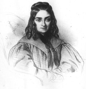 Flora Tristan (1803-1844), woman of letters, socialist and French feminist. Lithograph published by Aubert in 1838, published in Le Charivari n ° 53, February 22, 1839. Public Domain.