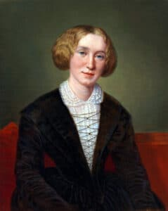 George Eliot (1819-1880), aged 30. Oil on canvas painted by the Swiss artist Alexandre-Louis-François d'Albert-Durade (1804-1886), whose family she lived with while in Switzerland. The original painting is placed at the British National Portrait Gallery (purchased 1905). Public Domain.