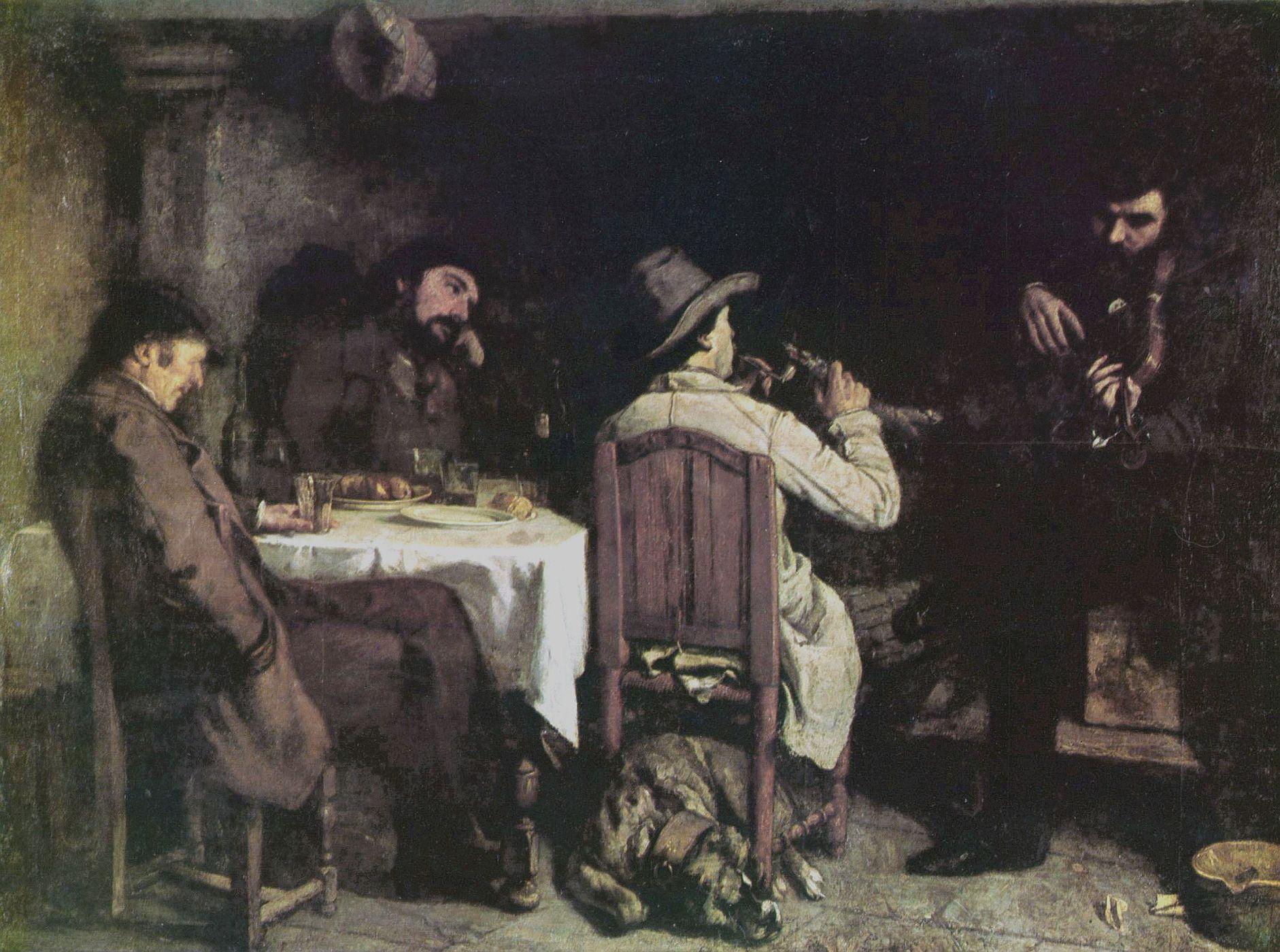 Gustave Courbet: Une après-dinée à Ornans/Efter middag i Ornans, 1849. Maleriet hænger på Palais des Beaux-Arts de Lille. The Yorck Project (2002) 10.000 Meisterwerke der Malerei (DVD-ROM), distributed by DIRECTMEDIA Publishing GmbH. Public Domain,