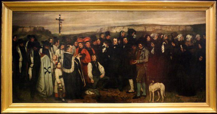 Gustave Courbet: Un enterrement á Ornans/Begravelsen i Ornans (1849-50). Maleriet hænger nu på Musée d'Orsay i Paris, og er fotograferet af Sailko den 9 December 2015. (CC BY 3.0). Se nedenfor 10 juni 1919.