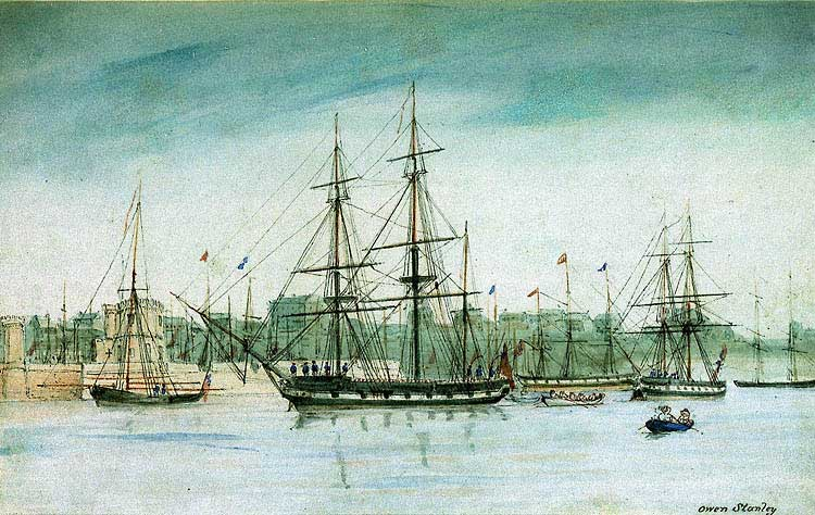 HMS Beagle, (centre) painted in watercolor during the third voyage while surveying Australia, 1841. Artist: Owen Stanley (1811–1850). Public Domain.