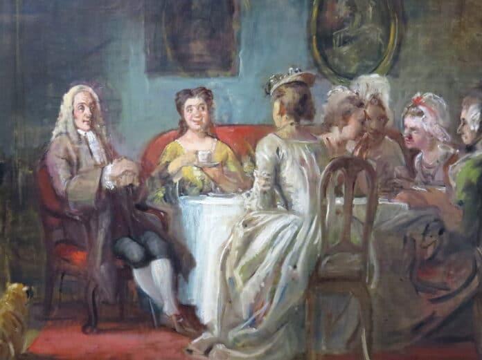 Udsnit af Holberg i kaffeselskab hos madame N.N., maleri fra ca. 1866 av Wilhelm Marstrand (1810-1873), dansk maler. Collektion: Den Hirschsprungske Samling, København. Foto: Orf3us, august 2014.