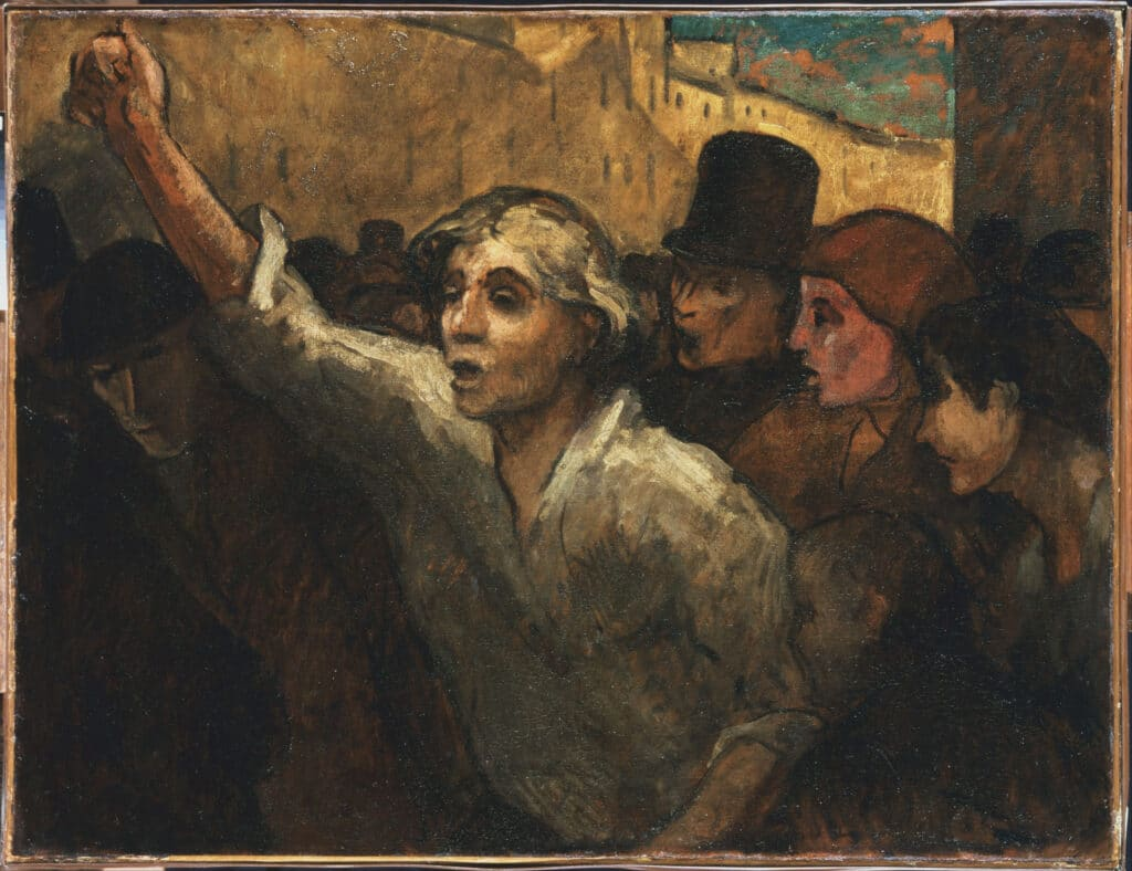 Jeanne Deroin features as the central character in The Uprising (L'Emeute). Oil on canvas painted 1848 or later by Honoré Daumier (1808–1879). Collection: The Phillips Collection Public Domain.