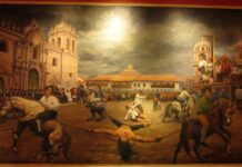 On May 21, 1781, the royalists executed the Inca José Gabriel Condorcanqui; known as Tupac Amaru. His great uprising began on November 4, 1780 in Tungasuca, south of Cusco, with the support of his wife, Micaela Bastidas, several caciques and thousands of indigenous people. Shortly after, Túpac Amaru II and Micaela Bastidas were captured, tried, and sentenced to death. The sentence was served on May 18, 1781 in the Plaza de Armas of Cusco. Túpac Amaru II was forced to witness the hanging of his eldest son, Hipólito Condorcanqui Bastidas, and other relatives and friends who participated in the rebellion. He also saw the death of his wife. Micaela was strangled in the vile club and finished off with kicks in the belly. They tried to dismember Túpac Amaru with four horses, but he resisted this torment. Finally he was beheaded. Painting at a Museum in Cusco, Peru.