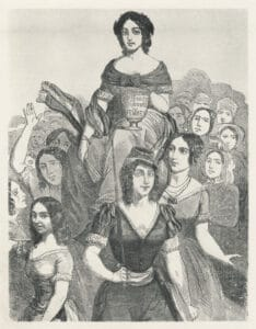 """Jeanne Deroin lifted on the shoulders of French women of different classes, holding a chalice that reads, """"Suffrage Universal des Femmes"""" (""""Universal Women's Suffrage""""), circa 19th century. Illustrator: Unknown. Public Domain."""