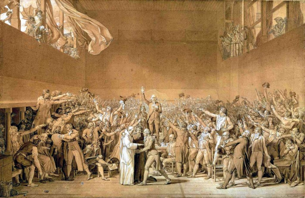 Le Serment du Jeu de paume. The National Assembly taking the Tennis Court Oath. Sketch from 1791 by Jacques-Louis David (1748–1825), French painter and politician. Collection: Palace of Versailles. Public Domain.