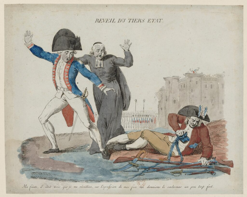 Réveil du Tiers état. Awakening of the Third Estate: my sham, it was about time I woke up, for the oppression of my irons gave me the cochemar a little too strong, 1789. From the National Library of France. Artist: Anonymous. Public Domain.
