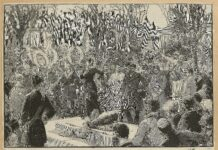 Blanqui's funeral at Père-Lachaise. Ilustrated by Dick de Lonlay (1846–1893) and Frédéric de Haenen (1853–1929). Public Domain.