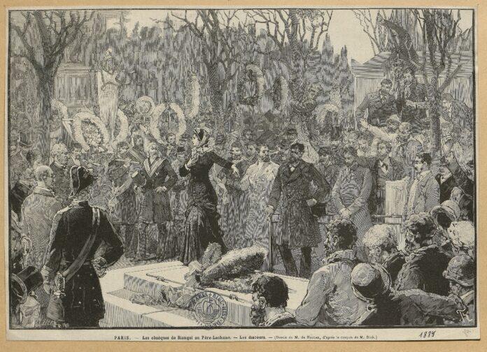 Blanqui's funeral at Père-Lachaise. Ilustrated by Dick de Lonlay (1846–1893) and Frédéric de Haenen (1853–1929). Public Domain.