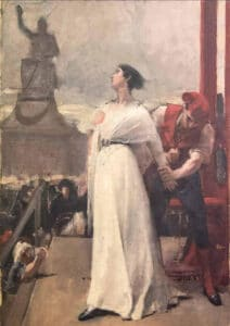 """Madame Roland on the scaffold. Manon Roland, on the scaffold, turns to a statue representing liberty and pronounces the famous formula (probably apocryphal): """"O Liberty, how many crimes are committed in your name!"""". Oil on canvas painted by unknown, late 19th century. Collection: Lambinet museum, Versailles, France. Public Domain."""