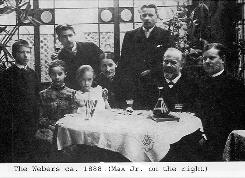 Weber family: ca. 1888. Max Weber (Jr.) on the right. To the left, possibly: Max Weber. Sr, Helene Weber, Max. Jr. two out of three brothers (Alfred, Arthur, Karl), then possibly sisters? Photo: Unknown. Public Domain.