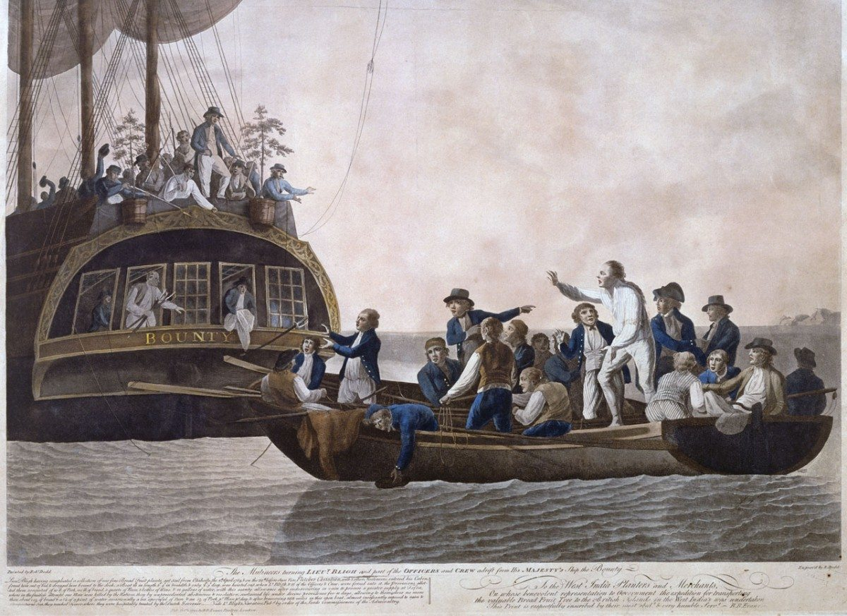 The Mutineers turning Lt Bligh and part of the Officers and Crew adrift from His Majesty's Ship the Bounty, 29th April 1789. Hand-colored aquatint made by Robert Dodd (1748–1815), British marine painter and engraver. Published by B B Evans on 2 October 1790. Collection: National Maritime Museum, Greenwich, London. Public Domain. See below 28 April 1789.