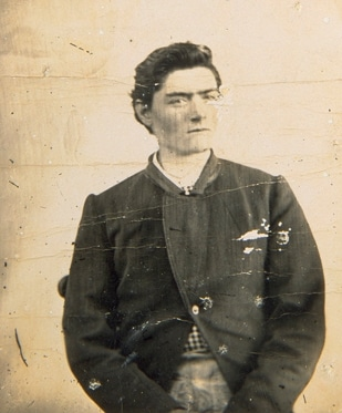 Ned Kelly, aged fifteen, photographed in 1871 at Kyneton, Victoria. Photo: Unknown. Public Domain.
