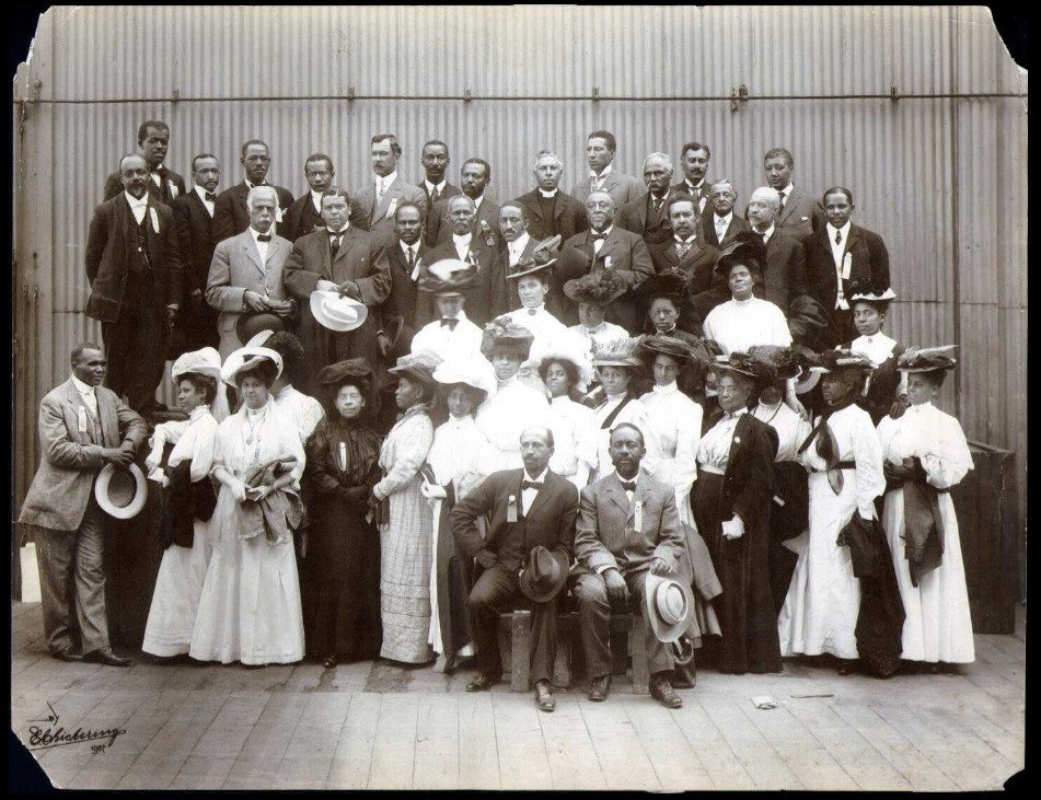 Group portrait of the delegates to the Niagara Movement meeting in Boston, Massachusetts in 1907;W. E. B. Du Bois is seated in front row, next to him is Clement G. Morgan. Niagara Movement delegates, Boston, Mass., 28 August 1907. Photo: Elmer Chickering (1857–1915). Public domain. See below February 26, 1868.