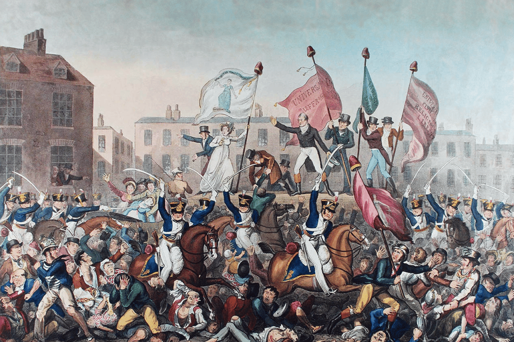 """To Henry Hunt, Esq., as chairman of the meeting assembled in St. Peter's Field, Manchester, sixteenth day of August, 1819, and to the female Reformers of Manchester and the adjacent towns who were exposed to and suffered from the wanton and fiendish attack made on them by that brutal armed force, the Manchester and Cheshire Yeomanry Cavalry, this plate is dedicated by their fellow labourer, Richard Carlile. A coloured engraving that depicts the Peterloo Massacre (military suppression of a demonstration in Manchester, England by cavalry charge on August 16, 1819 with loss of life) in Manchester, England. All the poles from which banners are flying have Phrygian caps or liberty caps on top. Not all the details strictly accord with contemporary descriptions; the banner the woman is holding should read: Female Reformers of Roynton -- """"Let us die like men and not be sold like slaves"""". Date: 1 October 1819. Drawing by Richard Carlile (1790–1843)/ From Manchester Libraries. Public Domain."""