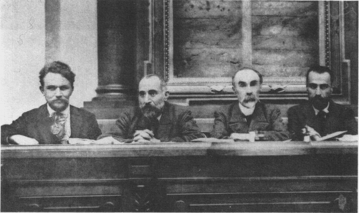 The presidency of the First All-Russian Congress of Soviets of Workers and Soldiers Deputies, which existed in June and July 1917. From left to right: Matvey Skobelev, Nikolay Chkheidze, Georgi Plekhanov, and Tsereteli. Photo: Unknown. Public Domain.