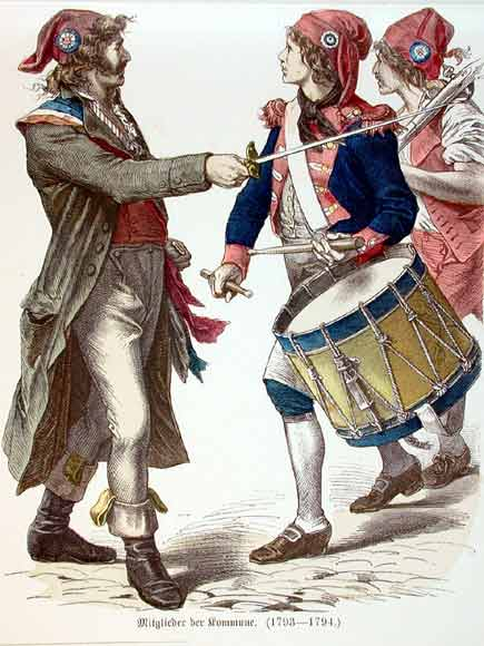 French revolutionaries wearing Phrygian caps and tricolor cockades. Colored engraving from the 19th century, depicting men with Jacobin hats, some without and some with culottes. From the book: Costumes of all nations : 123 plates, containing over 1500 coloured costume pictures by the first Munich artists, 1912. Public Domain.