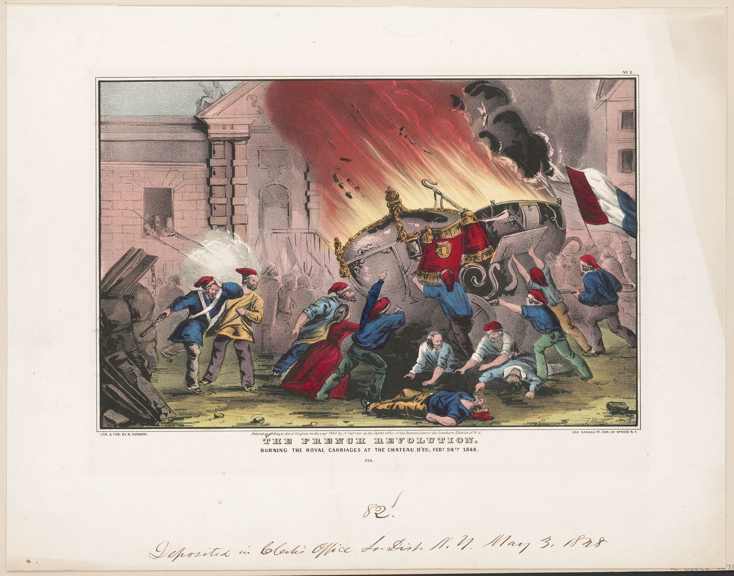 The French revolution: burning the royal carriages at the Chateau d'Eu, Feby. 24, 1848 Physical description: 1 print : lithograph, hand-colored. Lithograph by N. Currier (firm), c 1848. Place: Library of Congress, USA. Public Dopmain.
