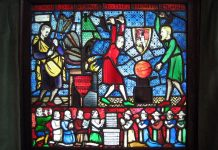 Designed by George Bernard Shaw and created by Caroline Townshend in 1910 as a commemoration of the Fabian Society. It shows Shaw with Sidney Webb and ER Pease, among others, helping to build a new world: 'Remould it nearer to the heart's desire'. Currently housed in the Shaw Library at the London School of Economics (founded by Sidney and Beatrice Webb and Shaw). Date 6 June 2006. Photo: Ruth Hartnup from Vancouver, Canada. (CC BY 2.0).