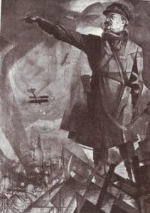 Cubo-futurist portrait of Trotsky as commander of the Red Army. 1921, Malet af Yury Annenkov. Public Domain.