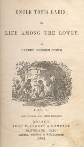 Title-page illustration by Hammatt Billings for Uncle Tom's Cabin [First Edition: Boston: John P. Jewett and Company, 1852]. Shows characters of Chloe, Mose, Pete, Baby, Tom. Originally from 1852. Public Domain.