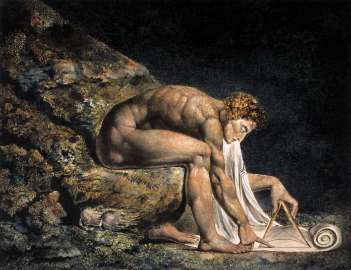 Isaac Newton, 1795. Copper engraving with pen and ink and watercolour by William Blake (1757–1827). Place: Tate National Gallery, London, Brittain. Public Domain.