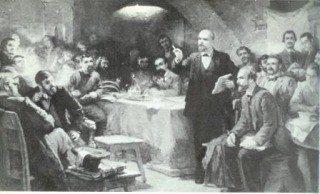 Senere kunstnerisk fremstilling af Lenin på 2. kongres, 20. juli-23 august 1903
