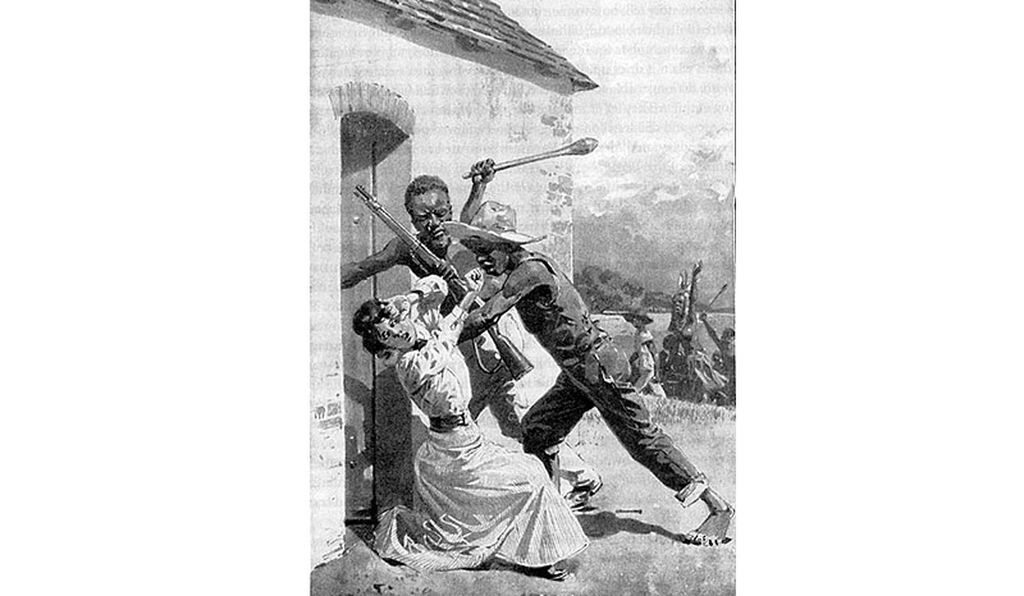 This illustration depicting a German woman being attacked by black men was typical of what Germans would have been told about the Herero genocide: that white citizens, women particularly, were in danger of attack. (Wikimedia Commons)