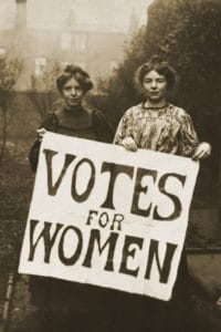 WSPU leaders Annie Kenney (left) and Christabel Pankhurst, circa 1908. Photo: Unknown author. Public Domain.