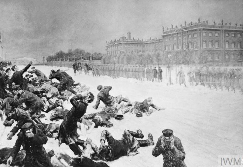 The Russian Revolution, 1905: Artistic impression of Bloody Sunday in St Petersburg, Russia, when unarmed demonstrators marching to present a petition to Tsar Nicholas II were shot at by the Imperial Guard in front of the Winter Palace on 22 January 1905. Photo: Ivan Vladimirov (1869–1947). Public domain.