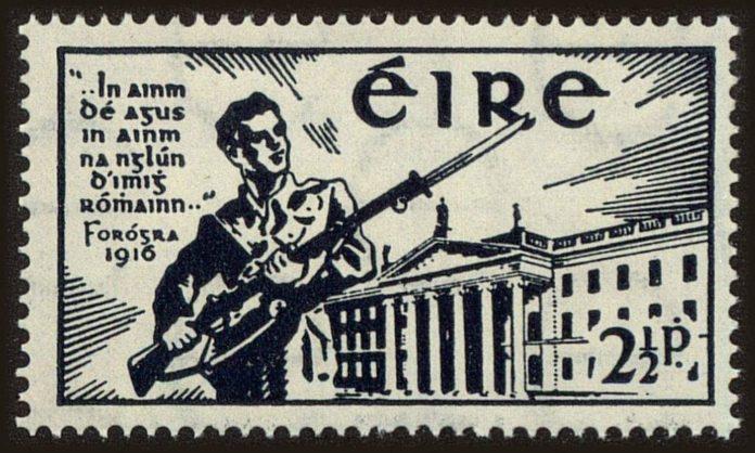 Easter Rising / Påskeoprøret i Dublin 1916: Irsk frimærke 1941, 25 år efter.