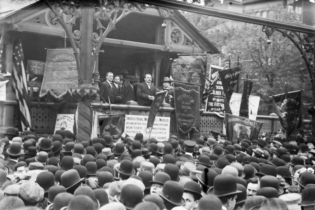James Connolly addressing the masses in Union Square on May Day in 1908. It is the only published photograph of the labour activist during his time in the US and one of the only occasions he was ever photographed speaking. Photograph: Library of Congress. Public Domain.