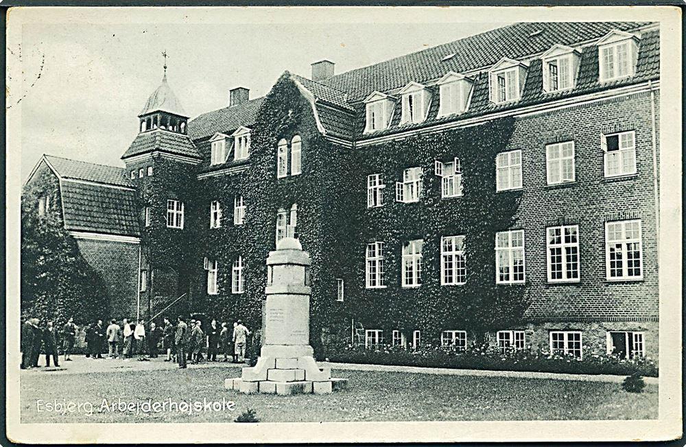Arbejderhøjskolen i Esbjerg. Postkort 1933. Kilde: https://www.stamps.dk/da-DK/lot/82318/danmark-arbejderhoejskole-i-esbjerg-stenders-no-66020