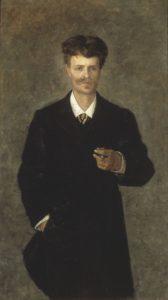 Portræt af August Strindberg, 1849-1912, olie på lærred, malet i 1885 af Sofie Holten (Danish, 1858 - 1930). Det svenske Nationalemuseum. Public Domain.