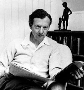 Publicity photograph of British composer Benjamin Britten. Back of the photo says 1968, it is stamped as being used in 1971, 1972, and 1973. Photo: Hans Wild for High Fidelity magazine. Public Domain.