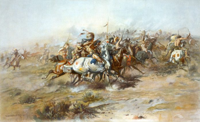 The Custer Fight. Lithograph from 1903 by Charles Marion Russell (1864–1926). Collection Library of Congress. Public Domain.
