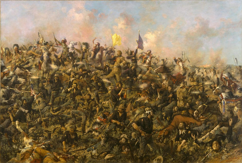 Custer's Last Stand, Oil painting on canvas made in 1899 by Edgar Samuel Paxson (1852–1919). Collection Buffalo Bill Center of the West at Whitney Gallery of Western Art Collection. Public Domain.