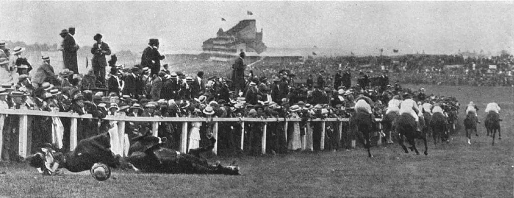 The English suffragette Emily Davison after she was hit by a horse at the Epsom Derby on 4 June 1913. Photo: C.N.(?), Topical and Farringdon Photo Co. Public Domain.