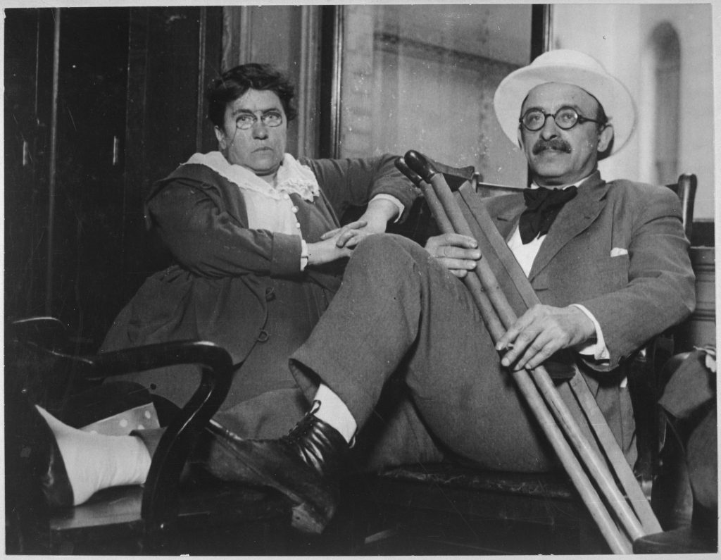 Record creator: [US] War Department. (1789 - 09/18/1947): Woman anarchist leader and aid in draft war. Emma Goldman and Alexander Berkman convicted of conspiracy against draft law and sentenced to two years in penitentiary and fined $10,000 each, July 9, 1917. International Film Service., 1917 - 1919. Public Domain.