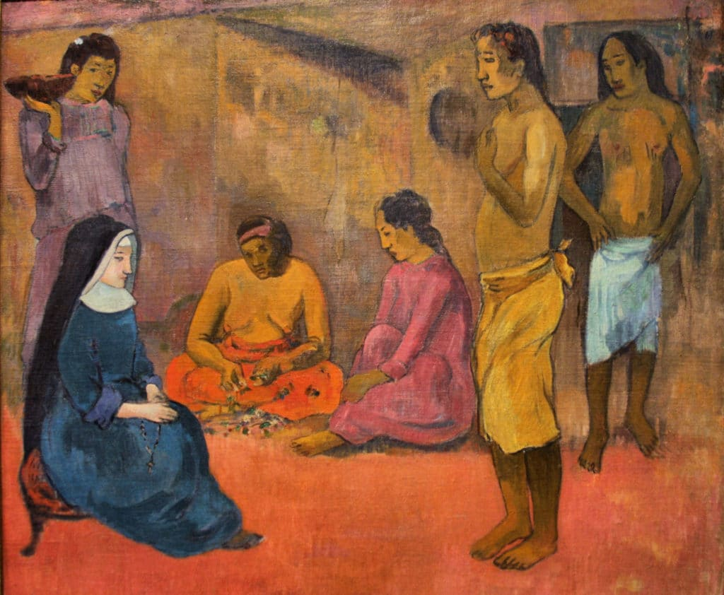 Painting on canvas by Paul Gauguin (1848–1903) from 1902: Sister of Charity. Located at McNay Art Museum, San Antonio, Texas. Public Domain.