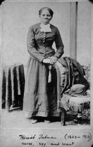 Harriet Tubman from Famous People: Selected Portraits From the Collections of the Library of Congress. Photograph by H. B. Lindsley. Time & Life Pictures dates the image to 1855. MPI dates the image to 1870. Indiana University Department of History & Brooklyn Museum date the image to 1860-1875. Author: Library of Congress. Public Domain.