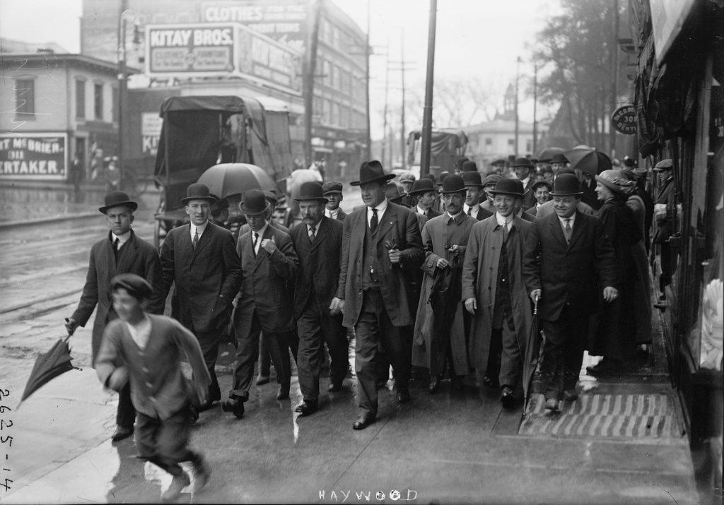 William Dudley Haywood at the 1913 Paterson Silk Strike in Paterson. Photo: George Grantham Bain Collection (Library of Congress). Rights Info: No known restrictions on publication.