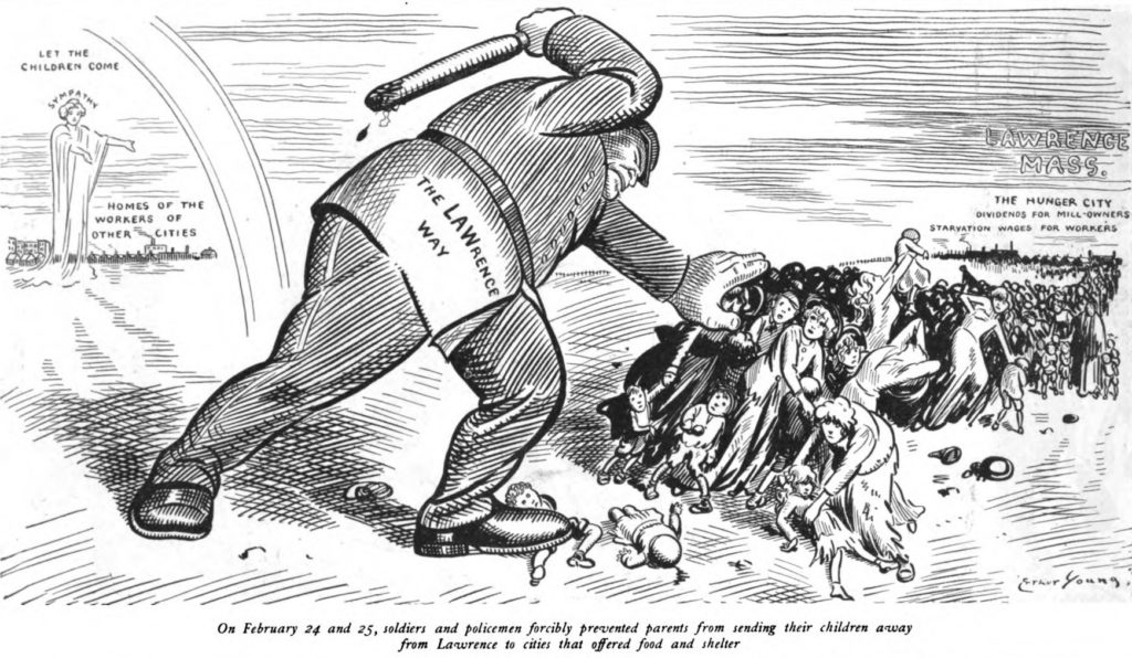 "Political cartoon which shows a policeman during the Lawrence Strike of 1912 striking down on women and children, who the parents are trying send from Lawrence to other cities which have offered to provide them food and shelter. The caption below the cartoon stated ""On February 24 and 25, soldiers and policemen forcibly prevented parents from sending their children away from Lawrence to cities which offered food and shelter."" Date: 9 March 1912. Cartoonist: Art Young (1866–1943). Public Domain."